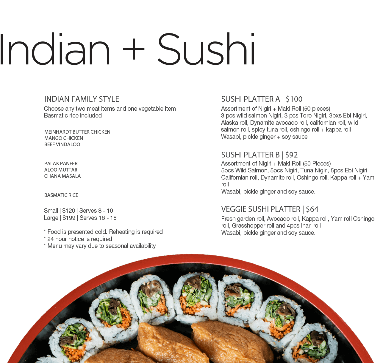 indian and sushi